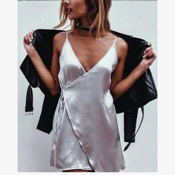 Wishlist Dresses & Skirts - Shimmer Silver Satin Mini Wrap Dress